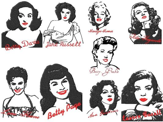 Famous People Famous Pinup Girls Embroidery Designs2