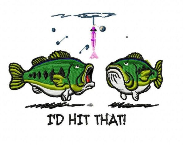 Funny Bass Fishing Embroidery Design