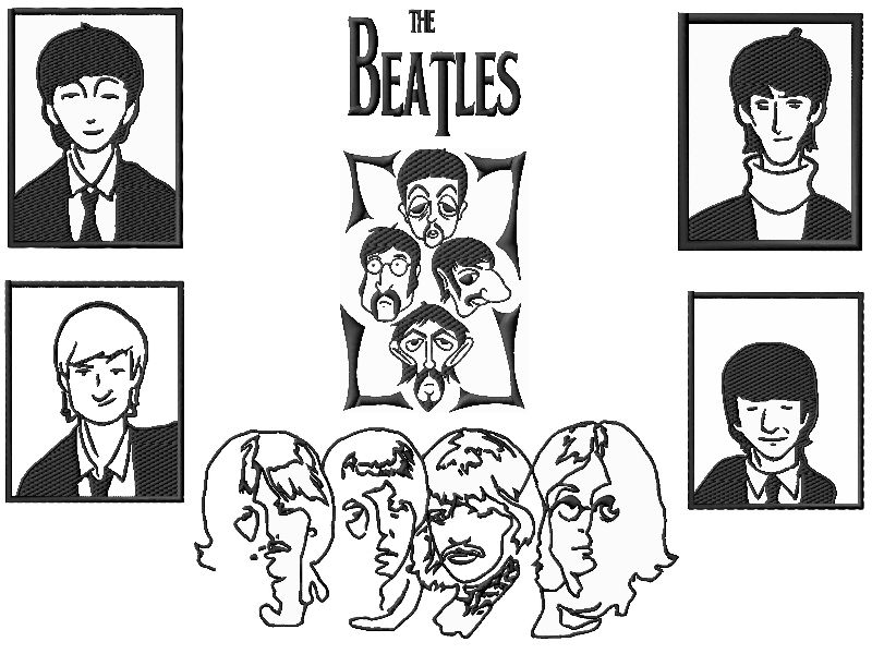 Beatles Embroidery Designs Set