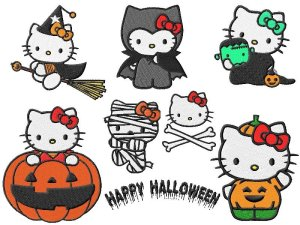 Hello Kitty Halloween Embroidery Designs