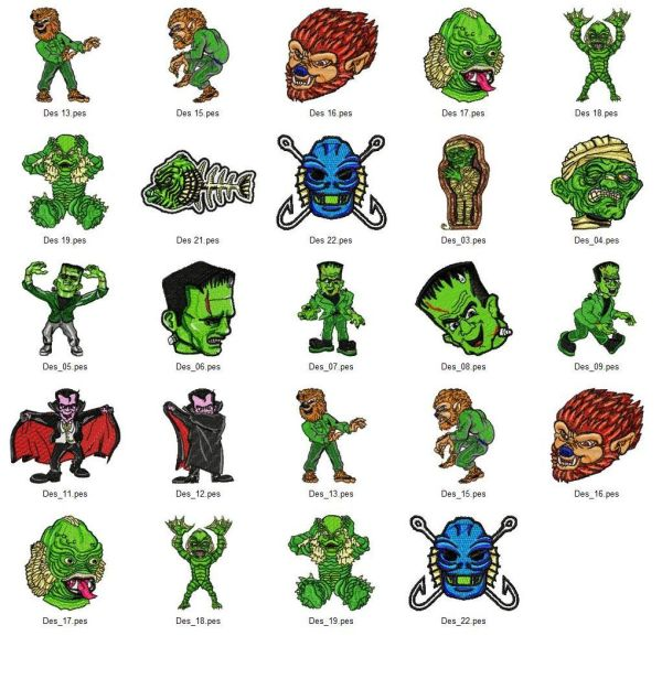 Movie Monster Embroidery Designs