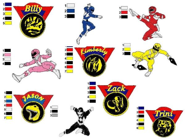 Power Rangers Embroidery Designs