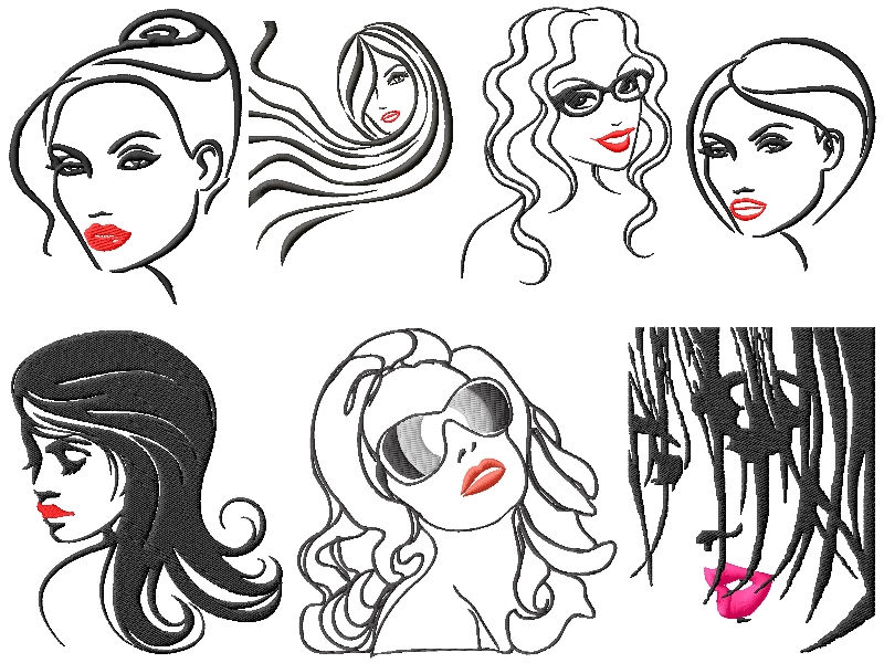 Sexy Faces Embroidery Designs Set 2