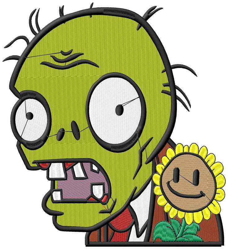 Plants vs Zombies X Large Bust Embroidery Design