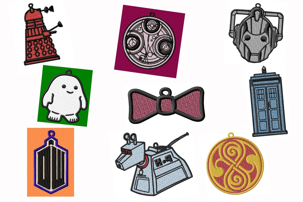 Dr Who FSL Ornament-Suncatcher Embroidery Designs Set