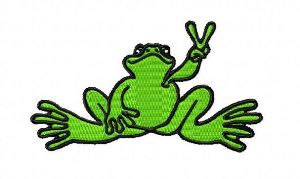 Green Peace Frog Embroidery Design