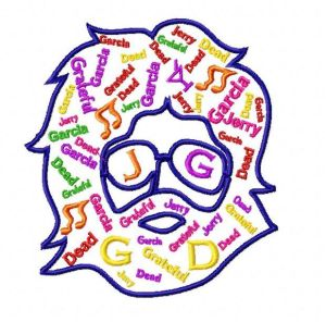 Grateful Dead Jerry Garcia Text Embroidery Design