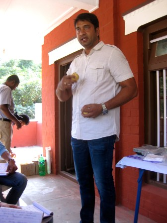 Our progressive cacao farmer talking about nutmeg production.