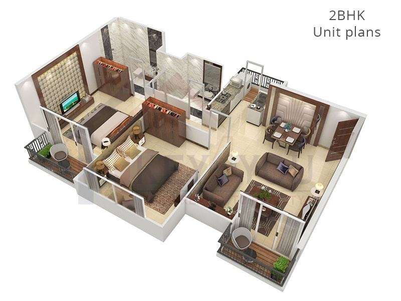 2 BHK Unit Floor Plan of Affordable Housing Gurgaon Sector 36