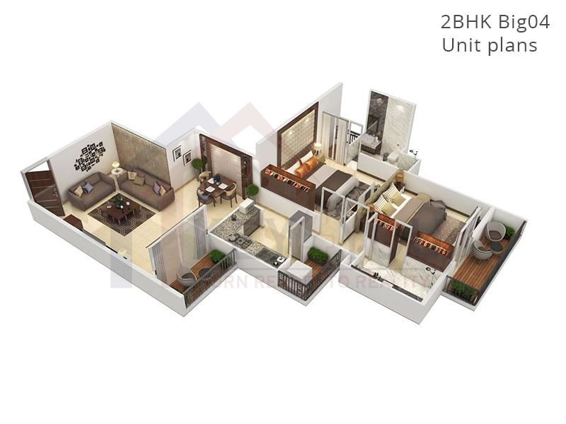 2 BHK Big 4 Unit Floor Plan of Affordable Housing Gurgaon Sector 36