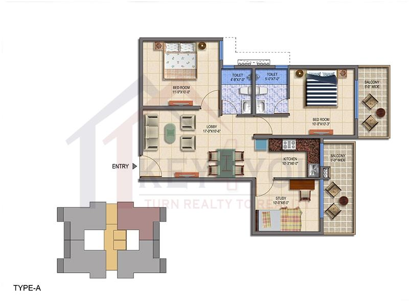 Type A Floor Plan of Signature Global The Roselia Sector 95A Gurgaon