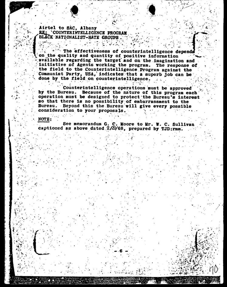 Page six of the FBI COINTELPRO Memo dated March 4, 1968