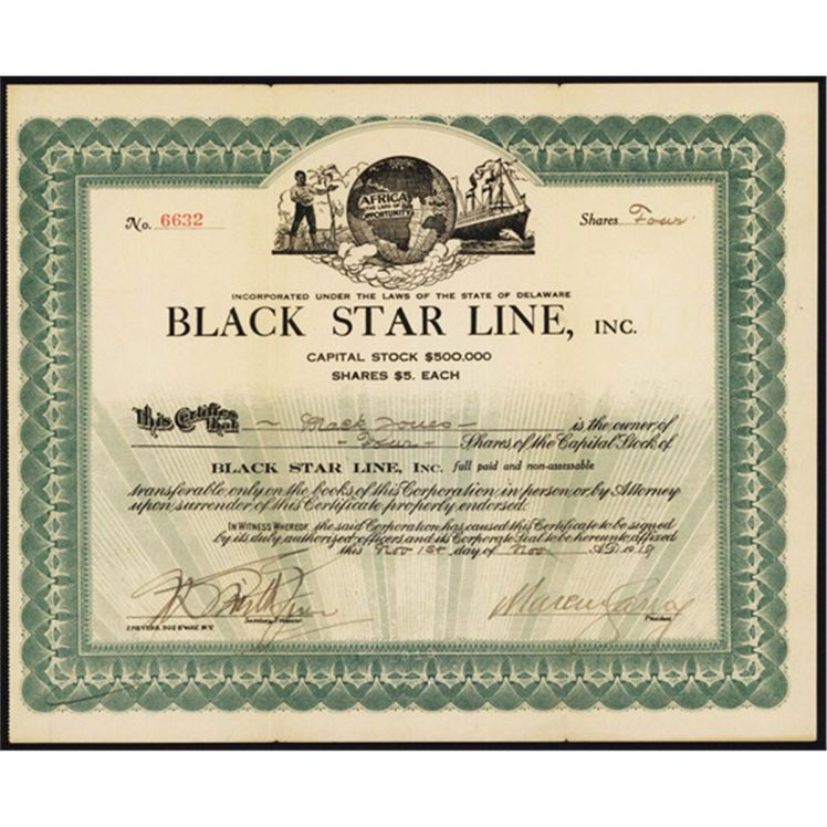 Black Star Line Stock certificate