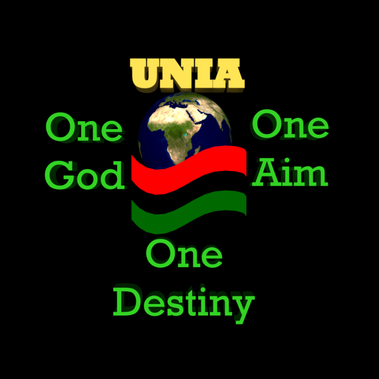 Image of the U.N.I.A. logo showing the motto of the organization is One God! One Aim! One Destiny!
