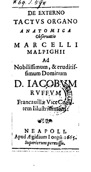 Title page of Marcello Malpighi's De Externo Tactus Organo Anatomica Observatio