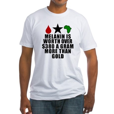 Melanin Is Worth More Than Gold T-ShirtRed blood drop, Black star, Green Africa with the words melanin is worth over $380 a gram more than gold.