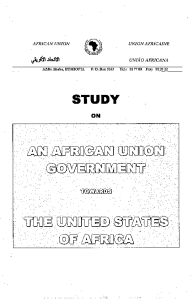 cover of study on an African Union Government towards the United States of Africa