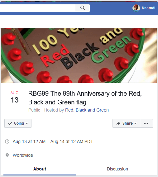 Screenshot of the event page for RBG99 on Facebook.com