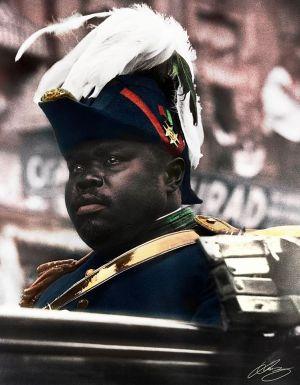 colorized picture of Marcus Garvey by Brazilian artist Luiz Enriquez Evaristo.
