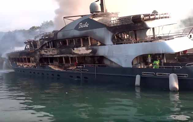 VIDEO Two Superyachts Damaged In Turkish Marina Fire