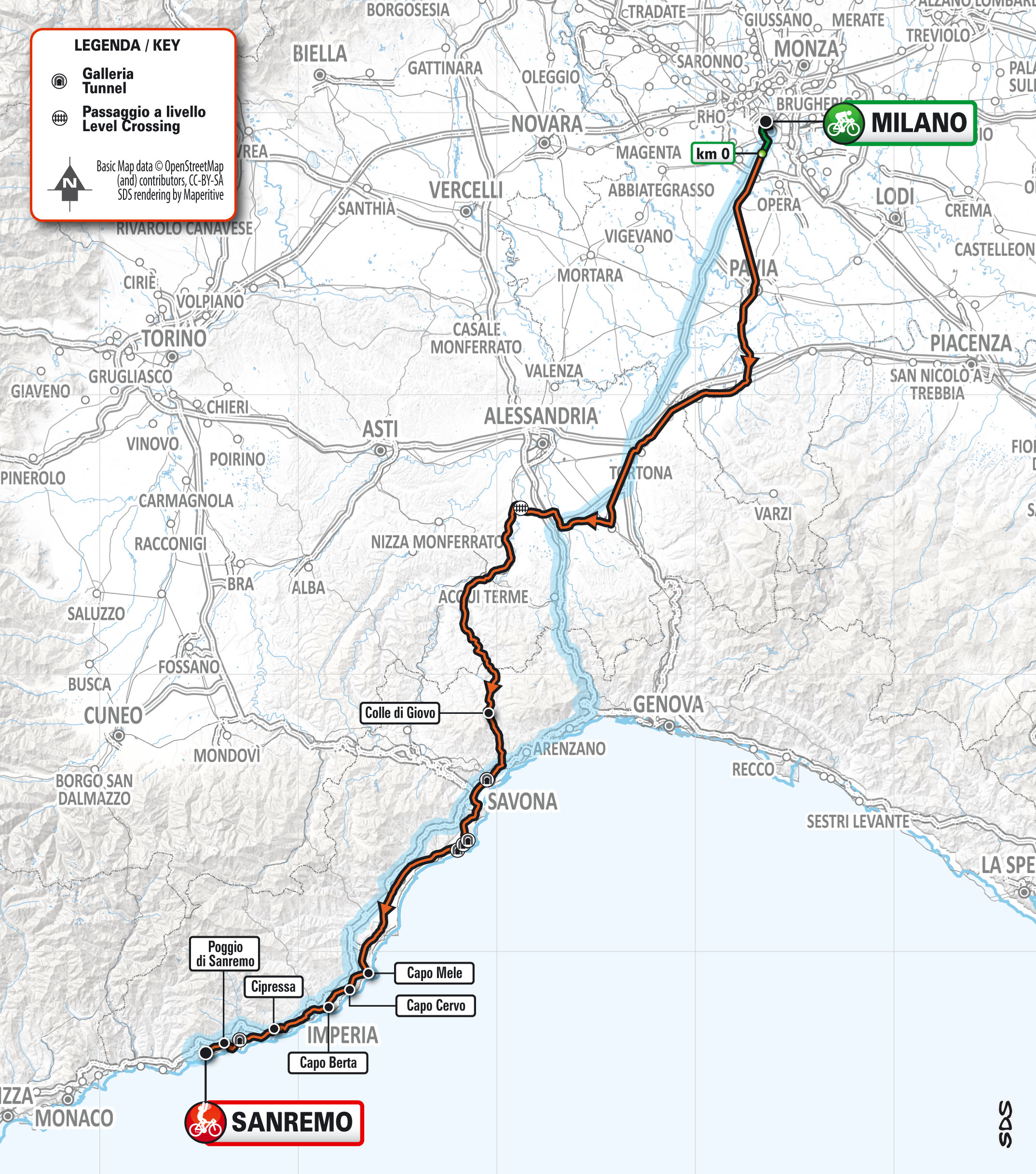 milan san remo 2021 route and start