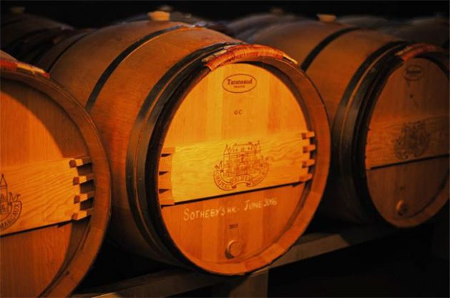 The barrel of Château Palmer 2015 wine waiting to be auctioned.