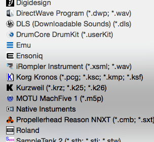 List of all available formats on Keyboard Waves, Sounds & Samples