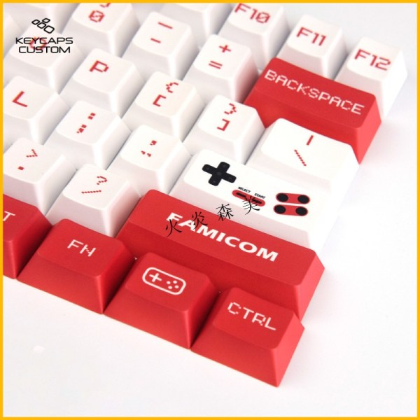 PBT White And Red Keycaps