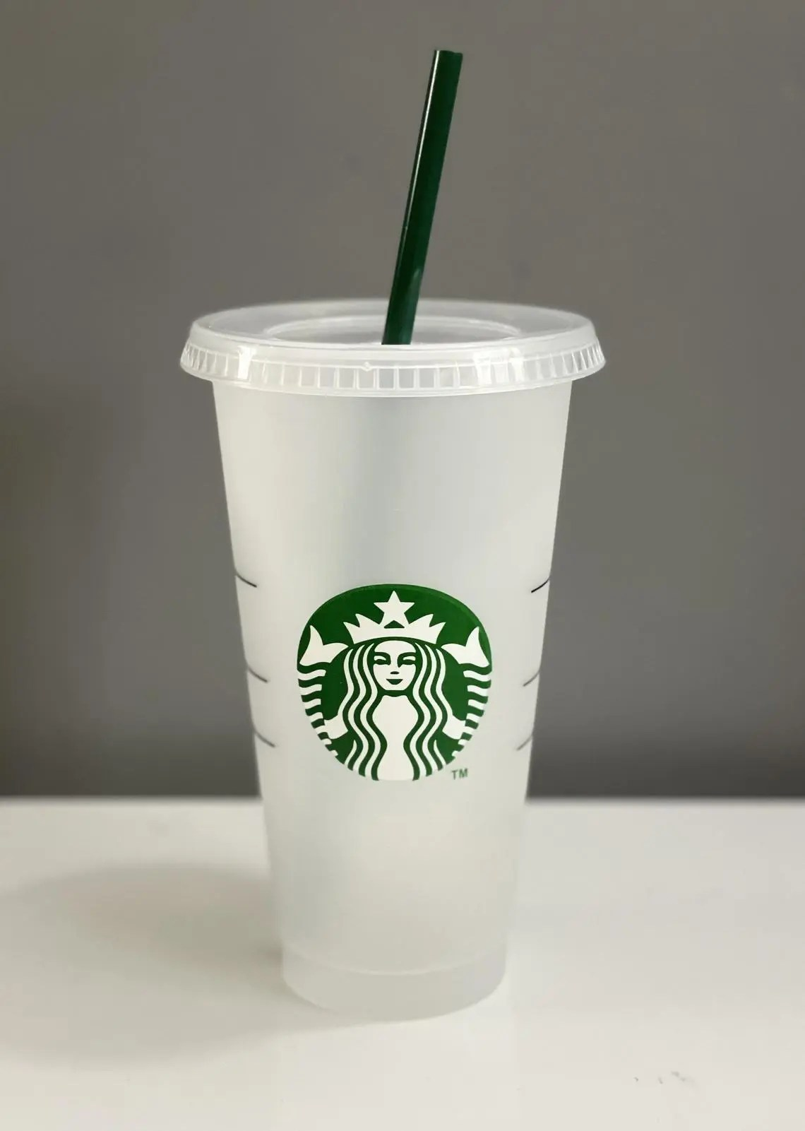 Starbucks Reusable 24 oz Plastic Venti cup with straw