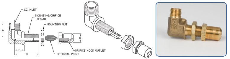 bulkhead elbow orifice holder - Compression Inlet - Orifice Hood Outlet