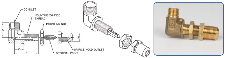 bulkhead elbow orifice holder - Compression Inlet - Orifice Hood Outlet