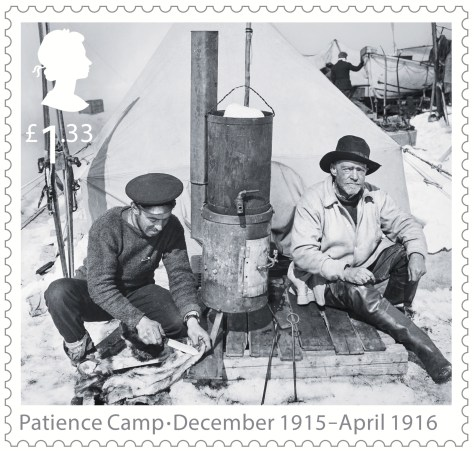 Stamp issued by Great Britain's Royal Mail on January 7, 2016, honoring the centennial of the Endurance Expedition.  Frank Hurley on left, skinning a penguin; Sir Ernest Shackleton on the right.