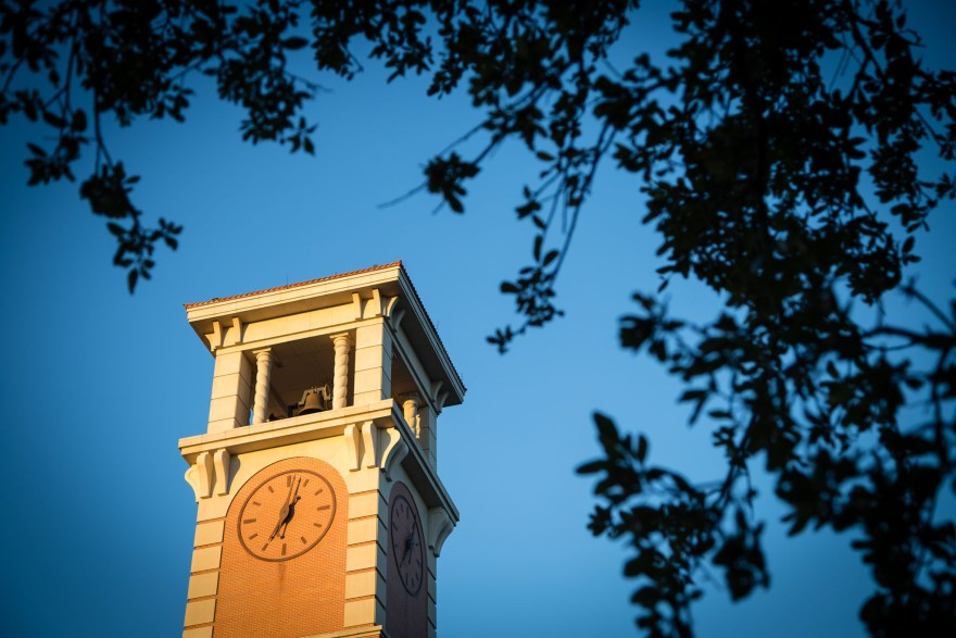 The clocktower rises above the University of South Alabama campus in Mobile, Alabama.