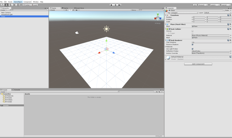 add a plane game object to act as our world floor
