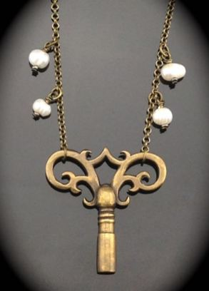 Antique Clock Key Necklace - brass gloriously ornate w/ pearls $48