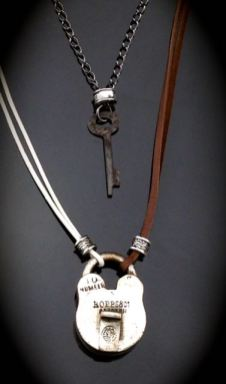 Antique Lock and Skeleton Key Necklace Set - 2 pieces work together $61