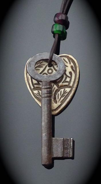 Antique Skeleton Key Necklace w/ carved bone heart $28