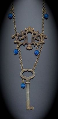 Antique Victorian Skeleton Key Necklace w/ matching Escutcheon $50