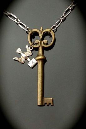 Rare Skeleton Key Necklace, Vintage WWII Messenger Pigeon Charm $45