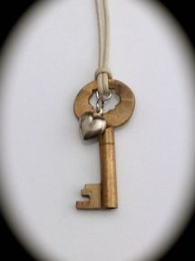 Small Brass Skeleton Key Necklace w/ Vintage Sterling Heart $37