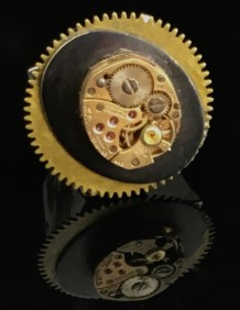 Steampunk Ring: Antique Jeweled Watch Movement on Real Clock Gear - $50 (SW1000)