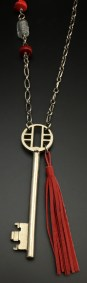 1940's Key with red tassel, and glass and coral beads - $45 (SW817)