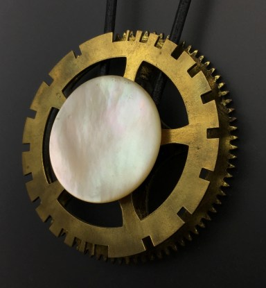 Victorian Mother of Pearl button on large clock gear - $94 (SW813)
