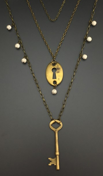 """Escutcheon """"keyhole cover"""" with Antique Key - $66 (SW806)"""