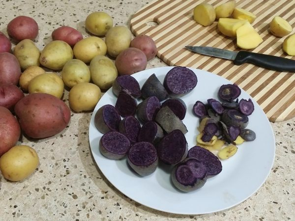 New potatoes for vegan potato salad