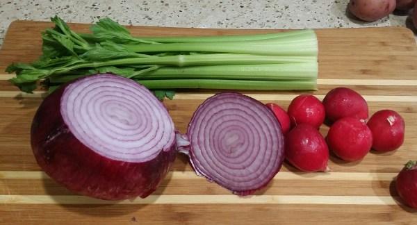 Veggies for vegan potato salad