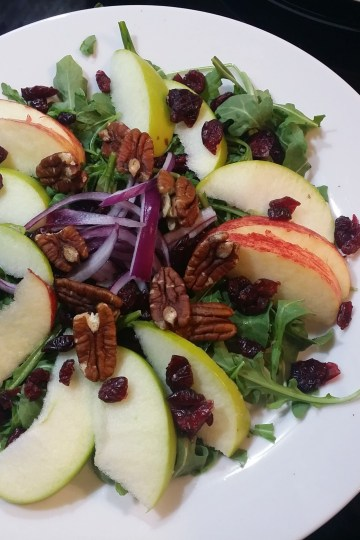 Apple Pecan Cranberry Arugula Salad