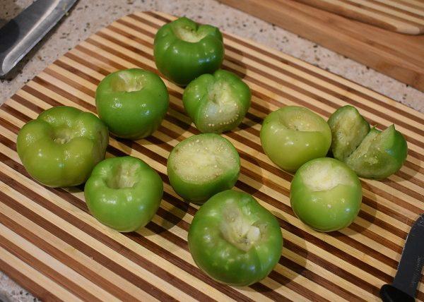 fresh peeled tomatillos