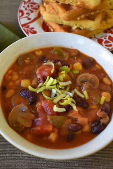 spicy three bean chili in a bowl