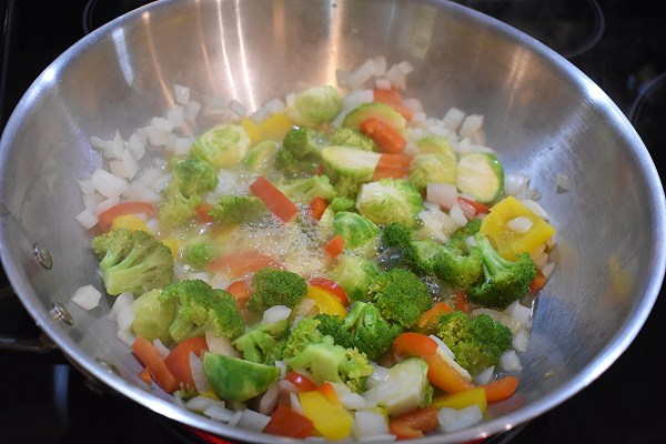 no oil broccoli brussels sprouts stir-fry recipe